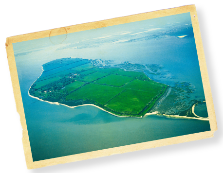 Aerial view of Osea Island and the surrounding Blackwater Estuary